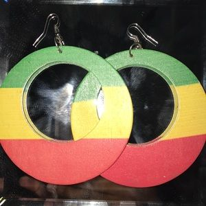 Jewelry - Ethiopian flag color circle earrings